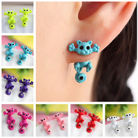 Multiple Colors, Cute Cat Stud Earrings For Women