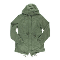 American Rag Womens Cotton Long Sleeves Coat - L / Dusty Olive