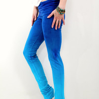 Hand Dyed Ombre Blue Indigo Yoga Leggings Pants