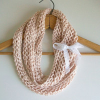 Vegan Peach Pink Knitted Infinity Scarf Handmade Knit Looped Circle Scarf Shabby Romantic Mobius Scarf Boho Chic