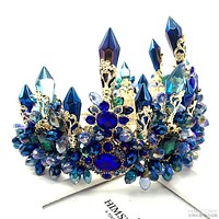 Blue Baroque Royal Retro Green Rhinestone Tiara Hairbands Wedding Hair Jewelry