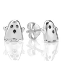 925 Sterling Silver Tiny Boo Ghost 9 mm Post Stud Earrings