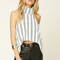 Reverse Striped High-Low Top