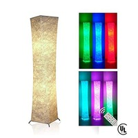 YinLeader Natural Tyvek Fabric Originality Led Floor lamp Softlighting Home Minimalism (Style4-Genera+2 RGB 2.4G High RF Wireless Technology Color Changing LED Remote Control Smart Bulbs)