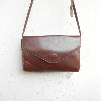 Vintage THE TREND Chestnut Brown Leather Crossbody Bag / Medium / Made in Italy