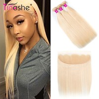 Hair 613 Bundles With Frontal Brazilian Straight Hair Bundles With Closure Remy Human Hair Blonde Bundles With Frontal