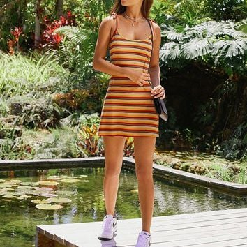 UO Maddie Tie-Strap Striped Dress | Urban Outfitters