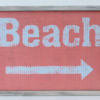 """Coral beach sign with distressed frame 13"""" x 19"""""""