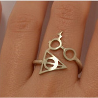 Fashion Hot Jewelry Harry Potter And The Deathly Glasses Artifact Ring For Men and Women