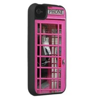 Funny girly Pink british phone booth photo print Iphone 4 Case from Zazzle.com