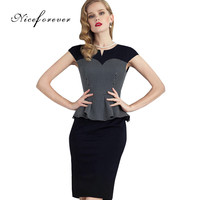 Nice-forever Grid Fashion Patchwork Women Formal Work Business bodycon Peplum Business Small V-Neck Pencil Office Dress B286