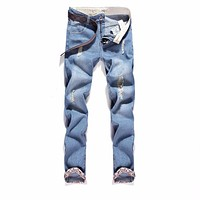2017 New Blue Ripped Jeans Men With Holes Denim Super Skinny Famous Designer Brand Slim Fit Jean Pants Scratched Biker Jeans