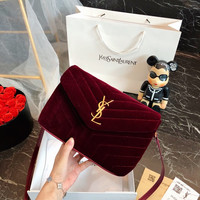 "Saint Laurent YSL Loulou Small In Matelasse ""Y"" Velvet Shoulder bag"