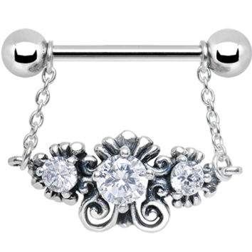 925 Silver Sophisticated Symmetry Three Clear CZ Silver Nipple Ring | Body Candy Body Jewelry