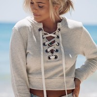 Deep V long-sleeved casual sweater - Grey