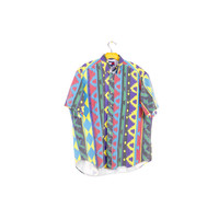 TOMMY HILFIGER navajo pattern shirt / vintage 80s 90s / aztec native american tribal print / hip hop / bold primary / wild abstract / M - L