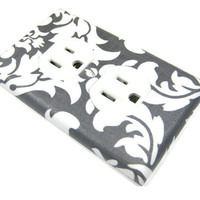 Outlet Cover - Cottage Chic Home Decor Charcoal Gray Damask by ModernSwitch