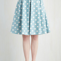 ModCloth 50s Mid-length High Waist Sweet Yourself Skirt in Blueberry