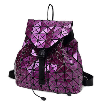 Women backpack 2017 geometric patchwork diamond lattice backpack famous brand drawstring bag mochila sac a dos 7 Colors DF411