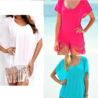 Cute & Fashionable V-Neck Swimsuit Cover Up with Fringe