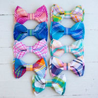 The Beau- preppy plaid collection double stacked bow ties for boys and men of all ages- choose from 9 plaids (clip or strap selection)