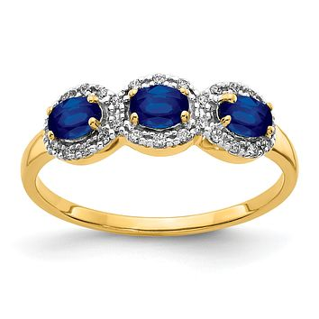14K Yellow Gold Sapphire and Real Diamond 3-Stone Ring