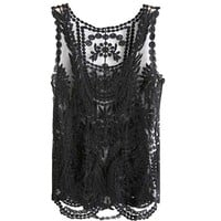 VonFon Women Lace Floral Sleeveless Crochet Knit Vest Tank Top Shirt Blouse Black Medium