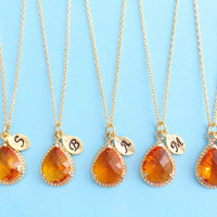Set of 1-10, Personalized, Letter, Initial, Orange, Glass, Gold, Silver, Necklace, Sets, Wedding, Bridesmaid, Bridal, Gift, Jewelry
