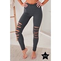 Cool Composure Cut Out Leggings (Charcoal)