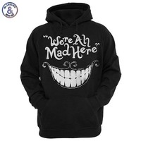 Mr.1991INC New Fashion Men/women 3d Sweatshirt Funny Print Cheshire Cat Smile Face Hooded Hoodies Tracksuits Cap Hoody Tops