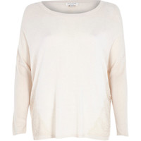 River Island Womens Beige lace panel 3/4 sleeve knitted top