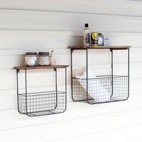 Wire Basket Shelves With Recycled Wood Tops (Set of 2)