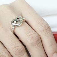 Knot Heart Silver Ring Sterling Ring .925 Silver Ring Personalized Ring