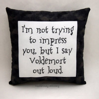 Harry Potter Cross Stitch Pillow, Black And Gray  Pillow, Voldemort Quote
