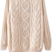 Warm Diamond Cable Sweater - OASAP.com