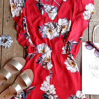 Oxford Floral Front Wrap Romper, Red