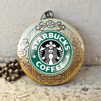STARBUCKS NEW LOGO Locket necklace, - ready for gifting - buy 3 get 4th one free