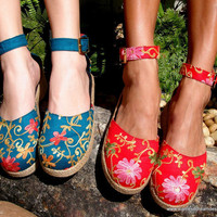 Embroidered Floral Ankle Strap Wedge Shoe In by SiameseDreamDesign