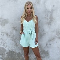 Hermosa Pop Mint Cocktail Romper