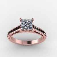 rose gold black diamonds princess moissanite engagement ring,style 146RGBLM