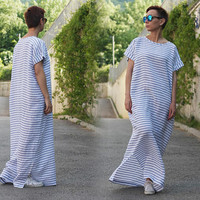 Beach Kaftan / Boho Maxi Dress / Long Linen Dress / Plus Size / Striped Dress / Summer dress / Linen Clothing / Beach Cover D19917