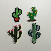 Artificial Mini Cactus Plants Patches,Embroidery Clothes Cactus Patch,Sew On,Iron On Patches,Appliques For Biker,Jacket