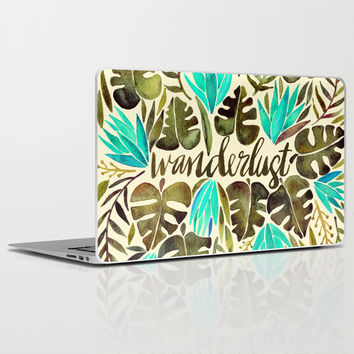 Tropical Wanderlust – Turquoise & Olive Laptop & iPad Skin by Cat Coquillette