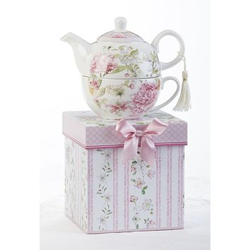 Gift Boxed Porcelain Tea For One - Pink Peony