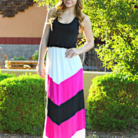 STROLL IN THE PARK MAXI DRESS IN BLACK/PINK