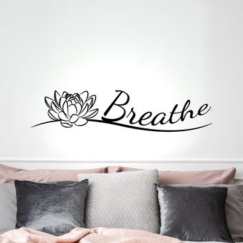 Vinyl Wall Decal Indian Yoga Buddha Breathe Lotus Flower Stickers Mural 35 in x 8 in gz259
