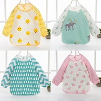 0-3 Years Cartoon Baby Bibs Apron Waterproof Toddler Girls Boys Feeding Burp Cloths with Long Sleeves born Kids Saliva Towels