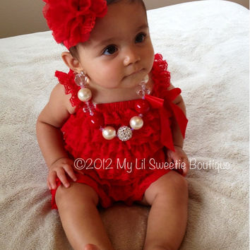 Red Vintage Lace Petti Romper - Newborn Outfit - Baby Girl Outfit - Toddler- Valentines day Outfit- photo prop- birthday