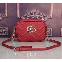 """Gucci"" Simple Casual Fashion Tassel Zip Double G Logo Quilted Metal Chain Single Shoulder Messenger Bag Women Small Square Bag"