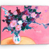 """Still Life Floral Abstract Painting on Small Canvas """"Pink Room with Flowers"""""""